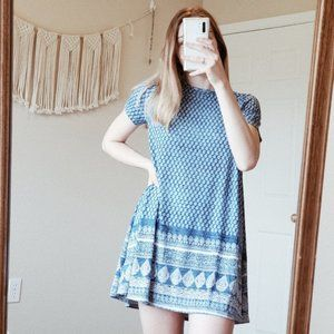 SMYM Em Mini Tee Dress Blue Paisely Boho Henna S